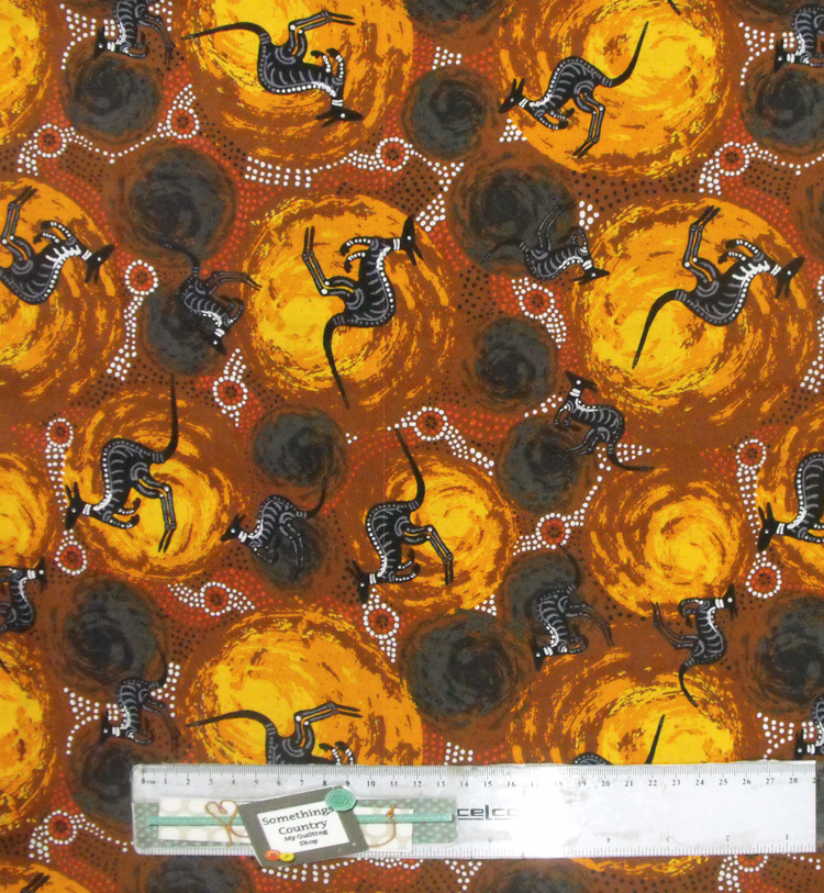 Patchwork Quilting Sewing Fabric ABORIGINAL KANGAROO BROWN Material Cotton 50x55cm FQ New