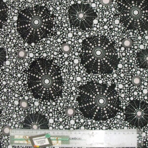 Patchwork Quilting Sewing Fabric ABORIGINAL SEVEN SISTERS BLACK Material Cotton 50x55cm FQ New