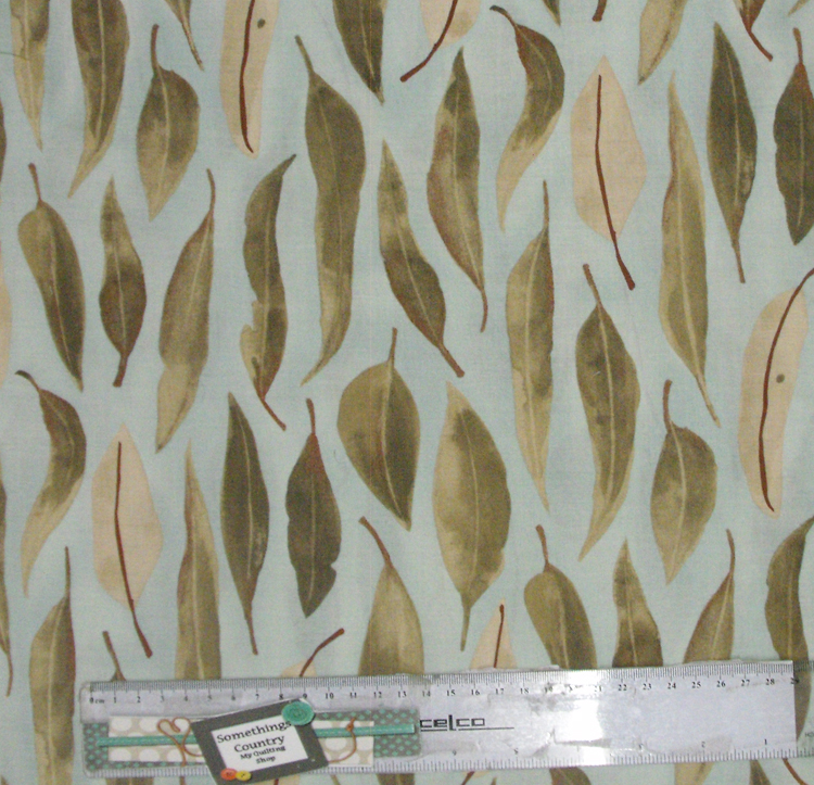 Patchwork quilting sewing fabric australian gum leaves
