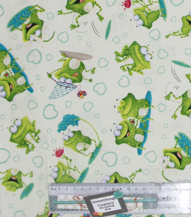 Patchwork Quilting Sewing Fabric FROG LAND ALLOVER Material Cotton 50x55cm FQ New