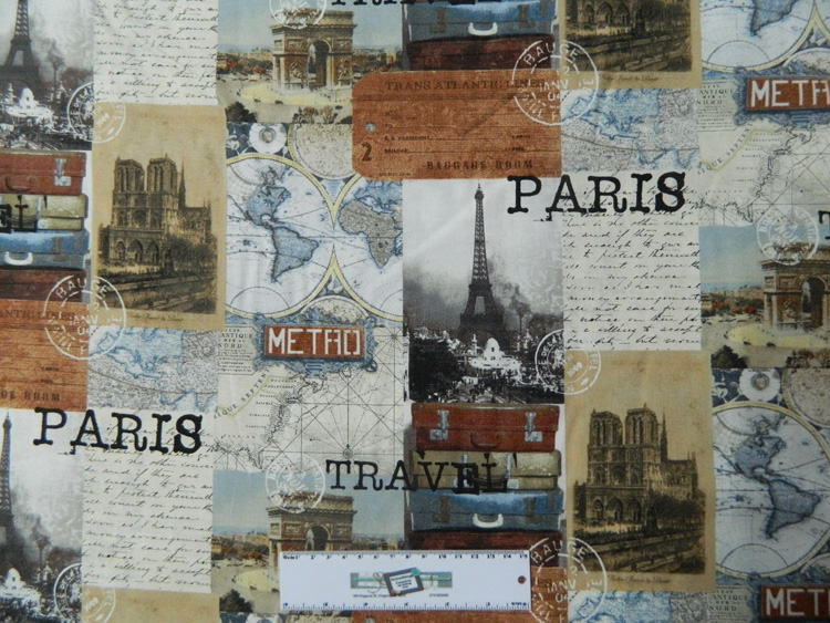 Patchwork Quilting Sewing Cotton Fabric PARIS TRAVEL Material 50x55cm New