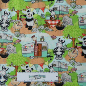 Patchwork Quilting Sewing Fabric KIDS ANIMALS CAMPING Material 50x55cm New