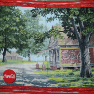 Patchwork Quilting Sewing Fabric COCA COLA VINTAGE Panel Cotton Material 88x110cm New
