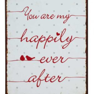 Country Tin Sign Vintage Inspired Wall Art MY HAPPILY EVER AFTER Retro Plaque NEW