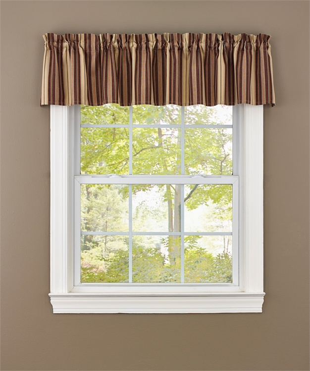 French Country Kitchen Curtains: French Country New Curtain Ruffled BIRCH WOOD BROWNS