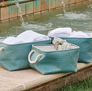 French Country Modern Inspired Seagrass Styled STORAGE BINS AQUA Green SET 3 New
