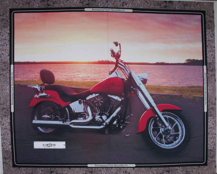 Patchwork Quilting Sewing Fabric SUNSET HARLEY MOTORBIKE Panel 90x110cm New