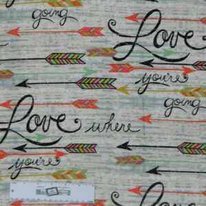 Quilting Patchwork Sewing Fabric LOVE ARROWS Allover Cotton 50x55cm FQ NEW Freepost