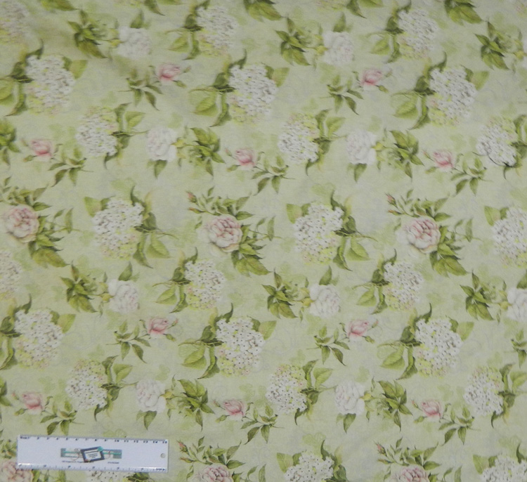 Quilting Patchwork Sewing Fabric ROMANTIC FLORAL PALE GREEN Cotton 50x55cmFQ NEW Freepost