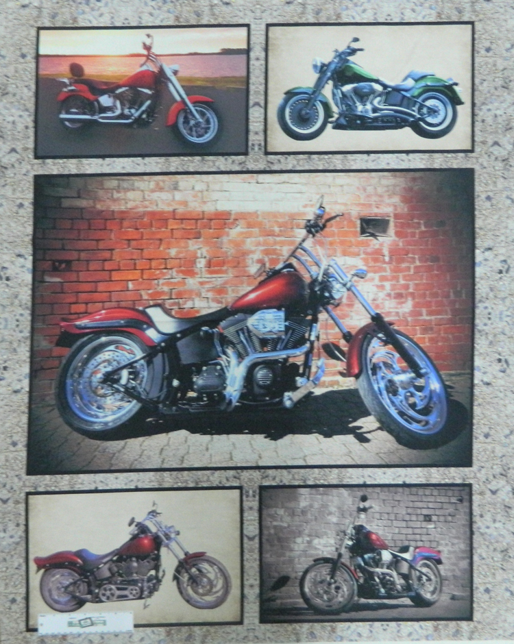 Patchwork Quilting Sewing Fabric MIXED HARLEY MOTORBIKE Panel 90x110cm New