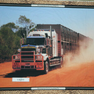 Patchwork Quilting Sewing Fabric RED DIRT TRUCK SEMI TRAILER Panel 90x110cm