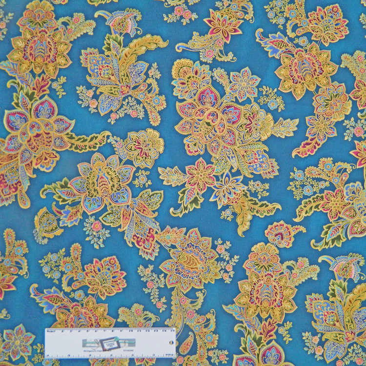 Quilting Patchwork Sewing Fabric METALLIC FLOWERS ON BLUE Allover Cotton 50x55cmFQ NEW