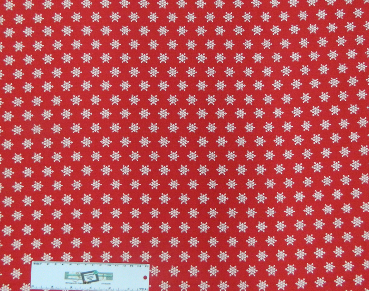 Quilting Patchwork Sewing Fabric SNOWFLAKES Red & White Cotton 50x55cmFQ NEW Freepost