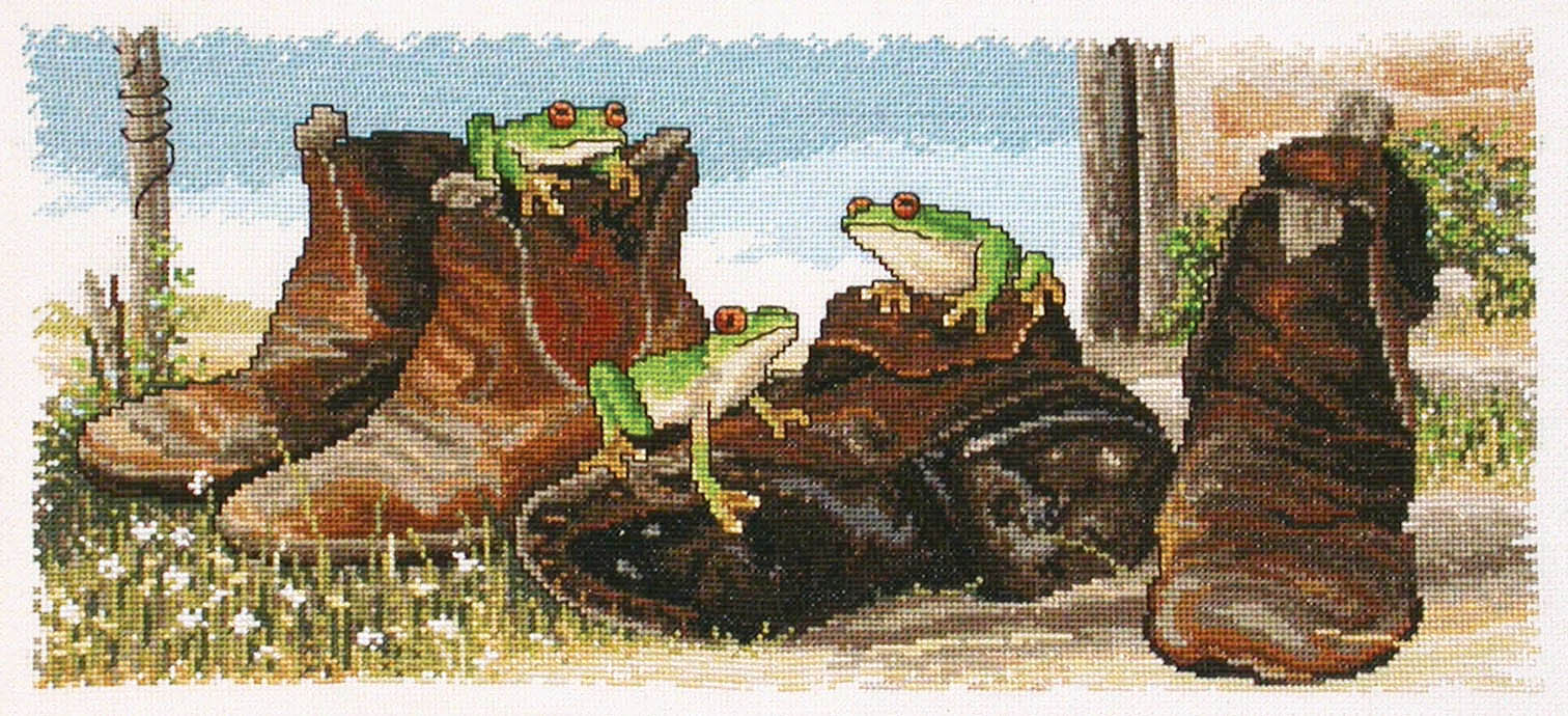 Country Threads Cross Stitch Counted X Stitch Pattern FROGS IN BOOTS New