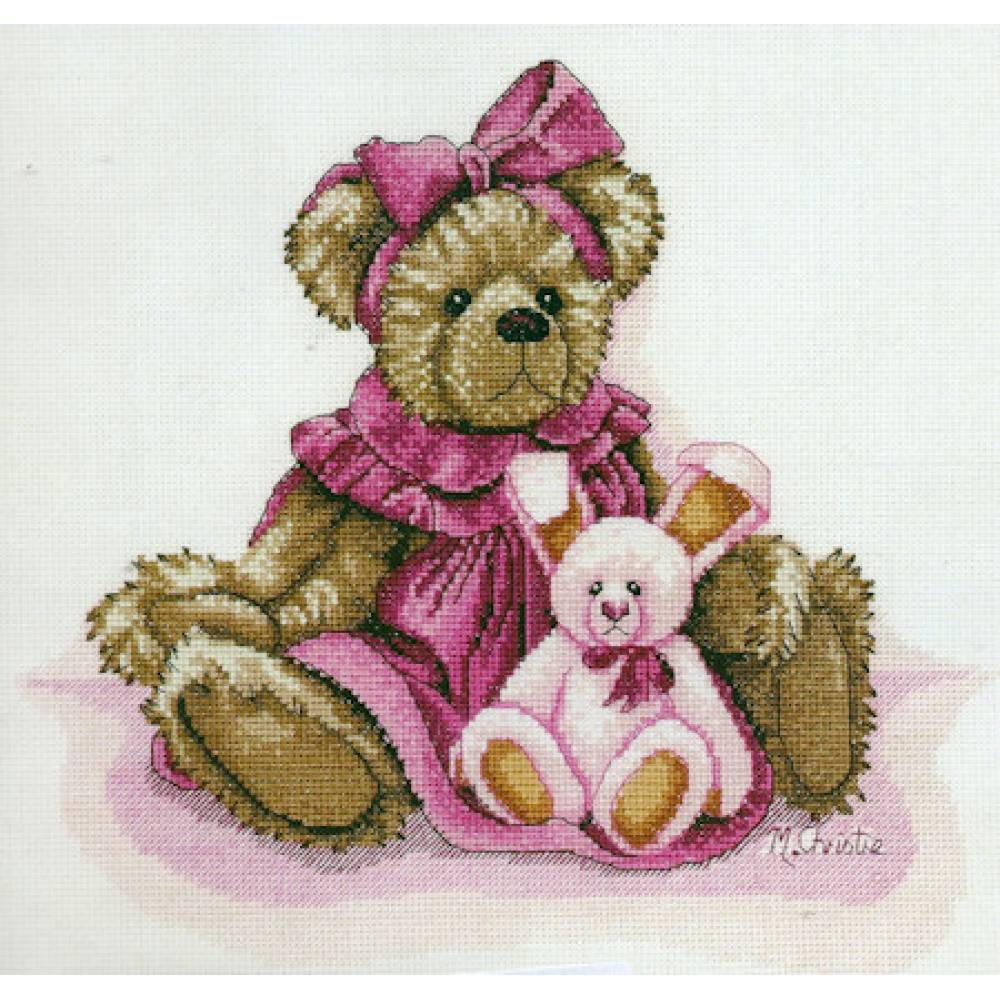 DMC Cross Stitch Kit PLAYTIME BEARS JILL & BUNNY X Stitch Inc. Threads NEW