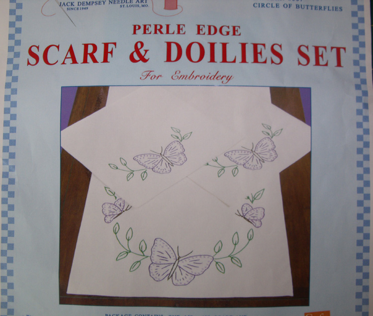 Preprinted Stamped Embroidery Doily Hand Stitching BUTTERFLIES with Broadcloth Fabric NEW