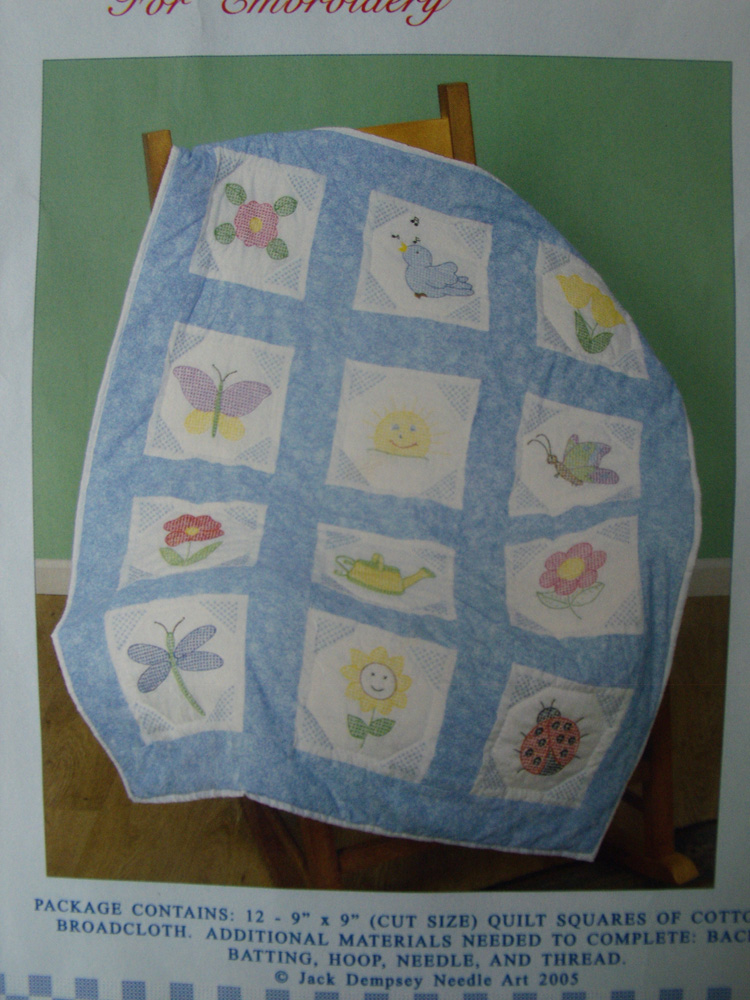 Preprinted Stamped Embroidery Quilting Blocks Stitching & X Stitch GARDEN Fabric NEW