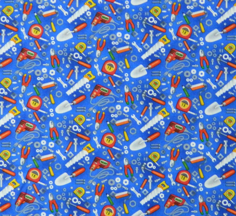 Quilting Patchwork Sewing Fabric BUILDERS TOOLS SAW HAMMER 50x55cm FQ NEW