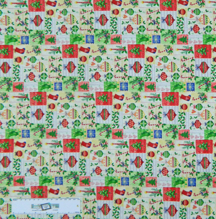 Quilting Patchwork Sewing Fabric CHRISTMAS ORNAMENTS 50x55cm FQ NEW Material