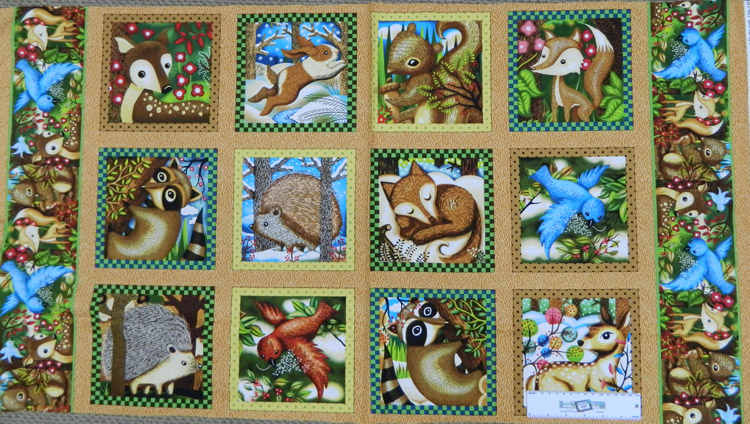 Patchwork Quilting Sewing Fabric WOODLANDS CRITTERS FRIENDS Panel 60x110cm New