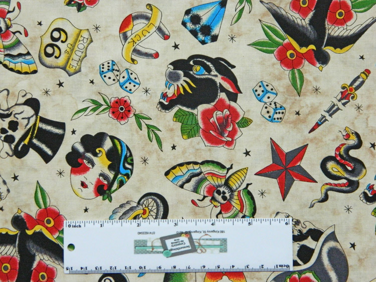 Quilting Patchwork Sewing Fabric BIKERS TATTOOS SKULLS 50x55cm FQ New