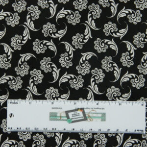 Quilting Patchwork Sewing Fabric WHITE ON BLACK FLOURISH 50x55cm FQ New Material