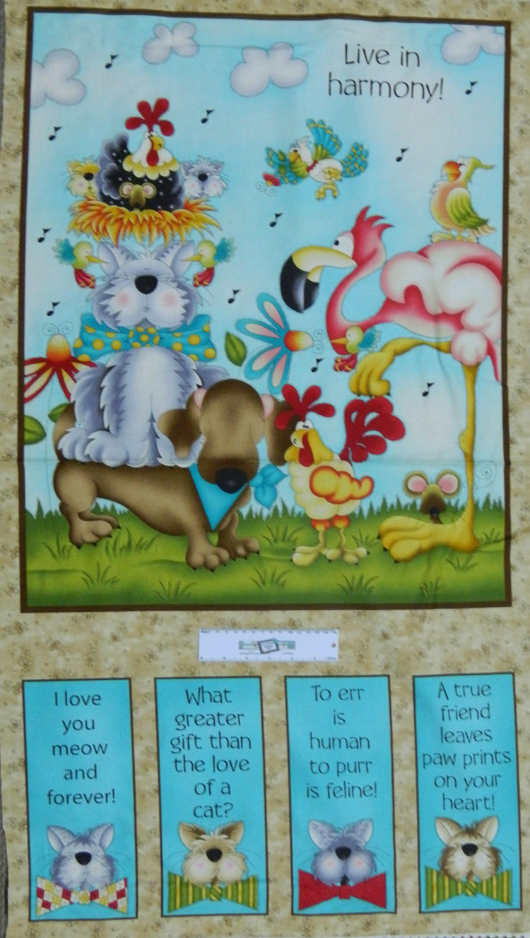 Patchwork Quilting Sewing Fabric LIVE IN HARMONY ANIMALS Panel 60x110cm New
