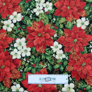 Quilting Patchwork Sewing Fabric RED and WHITE XMAS FLOWERS 50x55cm FQ New
