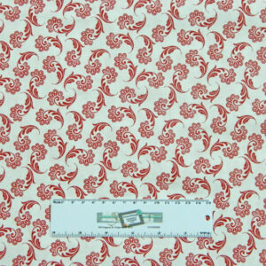 Quilting Patchwork Sewing Fabric RED ON WHITE FLOURISH 50x55cm FQ New Material