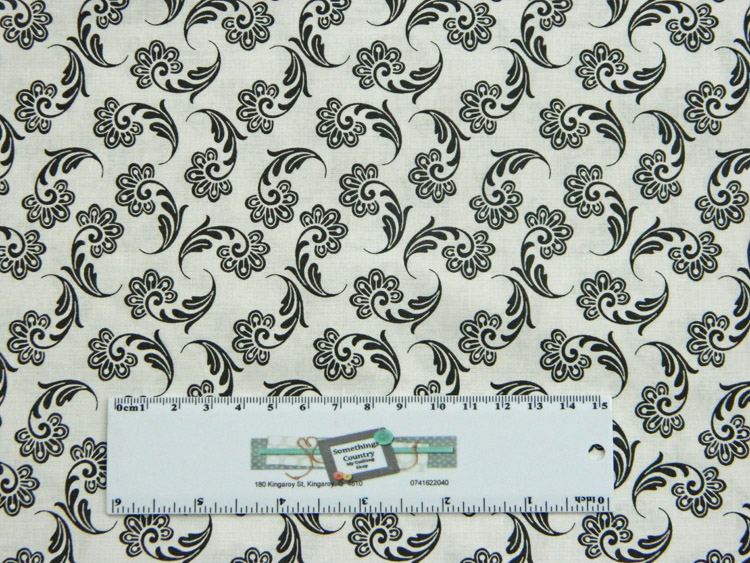 Quilting Patchwork Sewing Fabric BLACK ON WHITE FLOURISH 50x55cm FQ New Material