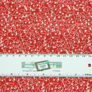 Quilting Patchwork Sewing Fabric RED ON WHITE SWIRLS 50x55cm FQ New Material