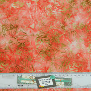 Quilting Patchwork Sewing Fabric BATIK PINKY SALMON LEAVES 50x55cm FQ New