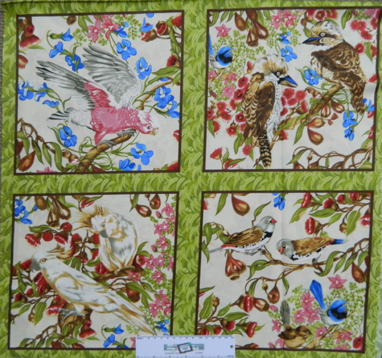 Patchwork Quilting Sewing Fabric AUSTRALIAN BIRDS Panel 60x55cm New Material