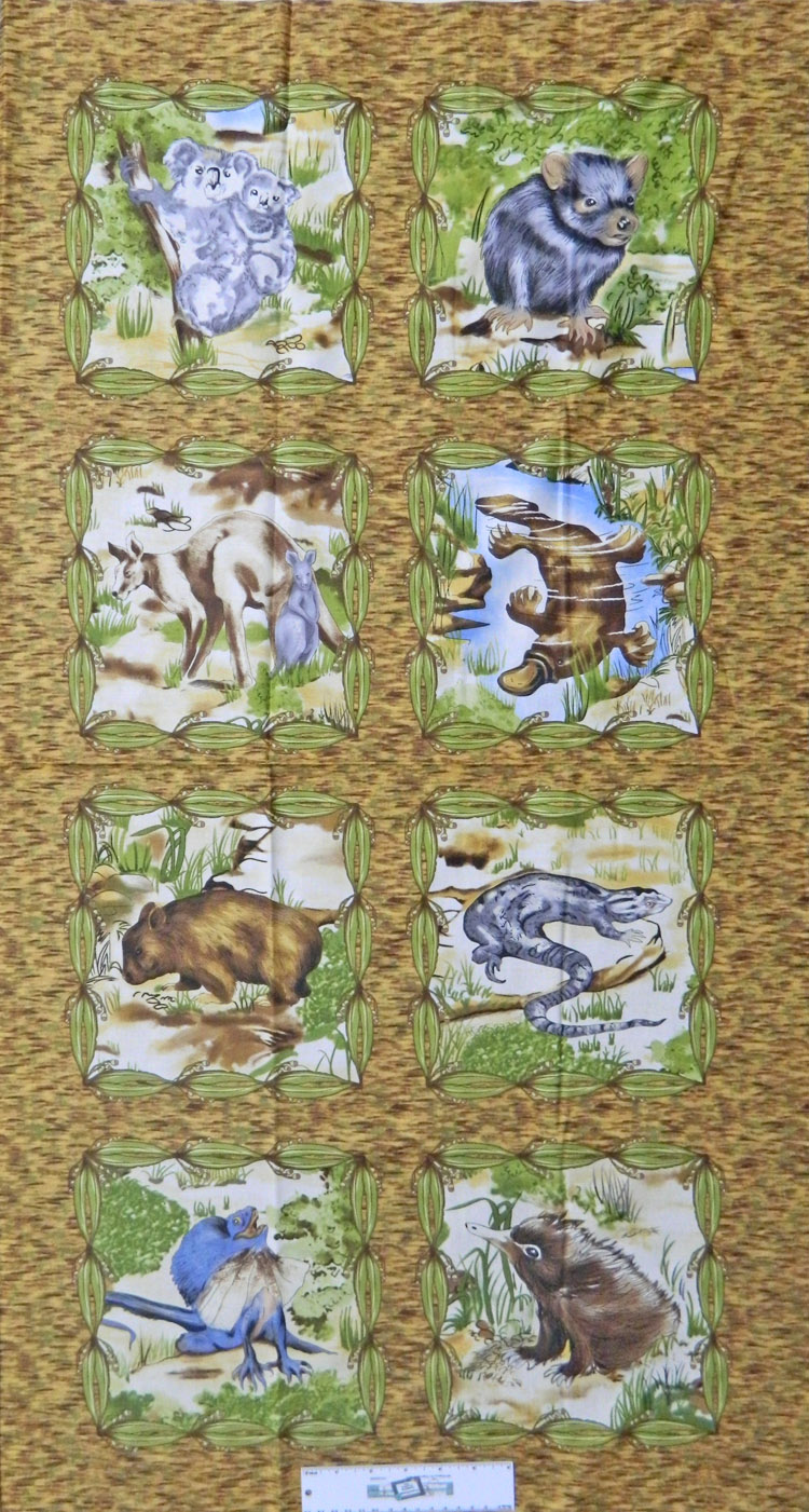 Patchwork Quilting Sewing Fabric AUSTRALIAN ANIMALS Panel 60x110cm New