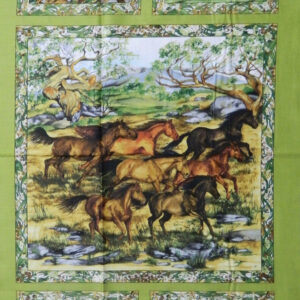 Patchwork Quilting Sewing Fabric SNOWY RIVER HORSES Panel 60x110cm New