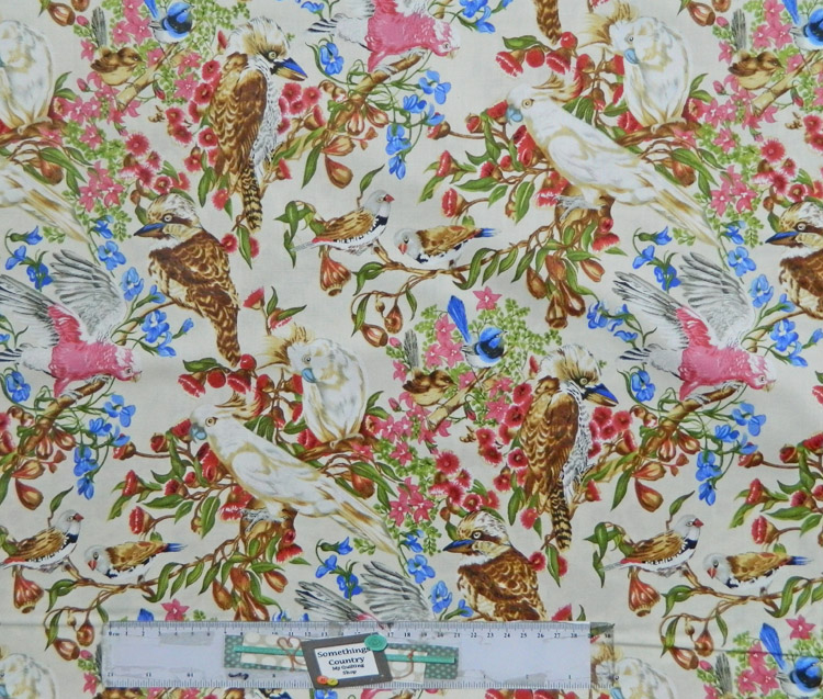 Quilting Patchwork Sewing Fabric AUSTRALIAN BIRD LIFE ALLOVER 50x55cm FQ New