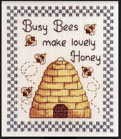 Cross Stitch BUSY BEES with Hives X Cross with Aida Fabric NEW Kit Including Threads