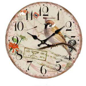 Clock Country Vintage Inspired Wall Clocks 34CM BIRD WITH RED FLOWER New Time
