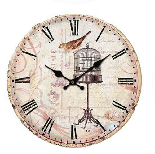 Clock Country Vintage Inspired Wall Clocks 34CM BIRD WITH BIRDCAGE New Time