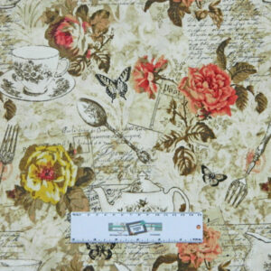 Patchwork Quilting Fabric VINTAGE FLORAL KITCHEN TEA Cotton FQ 50X55cm NEW Material