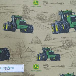 Patchwork Quilting Fabric JOHN DEERE TRACTORS FAWN SKETCHES Cotton FQ 50X55cm NEW