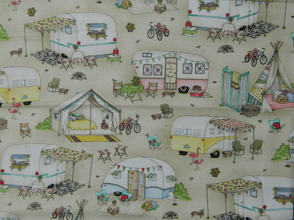Patchwork Quilting Fabric ROAM SWEET CARAVAN BROWN Cotton FQ 50X55cm NEW Material