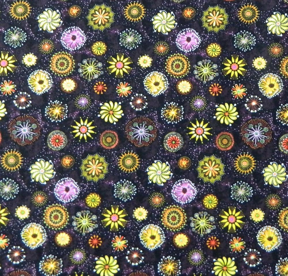 Patchwork Quilting Fabric GOANNA WALK STARBURST PINK/GREEN Aboriginal FQ 50X55cm NEW
