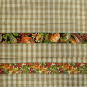 Country Style Fawn New Tea Towels Set of 2 PUMPKINS & FLOWERS Handmade Teatowels