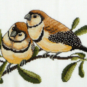 Country Threads Fiona Jude Cross Stitch Kit DOUBLE BARRED FINCHES Counted X Stitch NEW