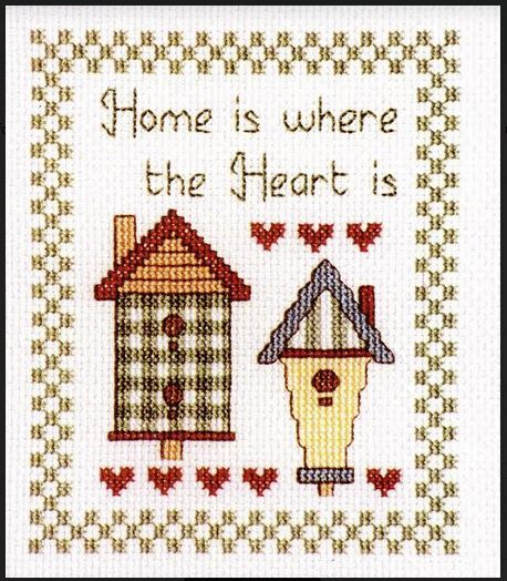 Cross Stitch HOME IS HEART IS with Hives X Cross with Aida Fabric NEW Kit Including Threads