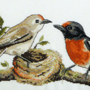 Country Threads Fiona Jude Cross Stitch Kit RED CAPPED ROBINS Counted X Stitch NEW