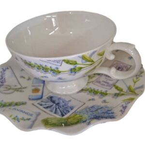 French Country Chic Kitchen Tea Cups & Saucers Set of 6 LAVENDAR FREEPOST New