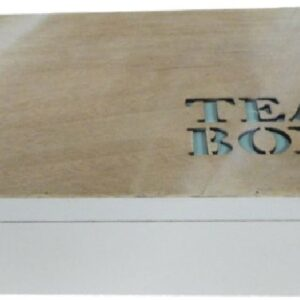 French Country Tea Bag Box CUTOUT TEAL Wooden Canister Teabag Holder Kitchen New