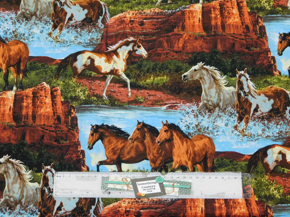 Patchwork Quilting Fabric RIVERS EDGE HORSES WESTERN Cotton FQ 50X55cm NEW